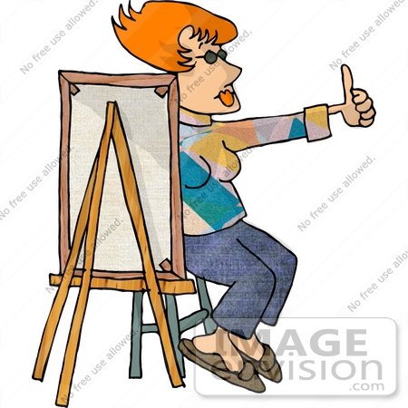 #17820 Artist Man Painting a Smiley Face and Giving the Thumbs up Clipart by DJArt
