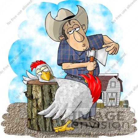 #17827 Cowboy Farmer Man With an Axe About to Butcher a Chicken Who Has its Head on a Chopping Block Clipart by DJArt