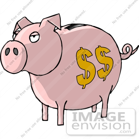 #17835 Pink Curly Tailed Piggy Bank With a Coin Slot and Dollar Signs Clipart by DJArt