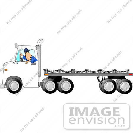 #17839 Man Driving a White Flatbed Truck in Reverse Clipart by DJArt