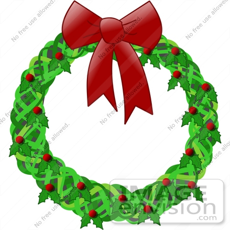 Holiday Christmas Wreath Decoration Made of Holly With Red Berries