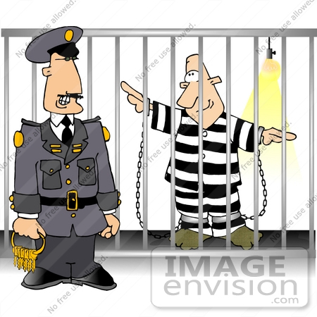 #17844 Prison Guard Standing by a Prison Cell With an Inmate Clipart by DJArt