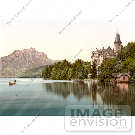 #17896 Picture of People in a Boat Near Hertenstein Schloss, Lake Lucerne, Switzerland by JVPD