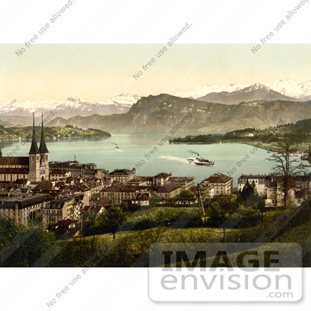 #17903 Picture of the Lucerne Village on the Lakefront, Switzerland by JVPD