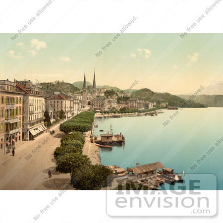 #17906 Picture of Boats and Buildings Along the Waterfront in Lucerne by JVPD