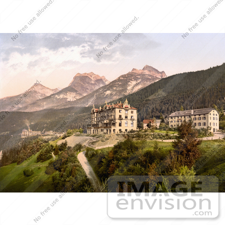#17913 Picture of a Group of Swiss Alps Hotels, Including Vulpera Hotel, Schweizerhof and Bellevue, Lower Engadine, Grisons, Switzerland by JVPD