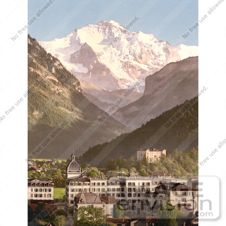 #17929 Picture of Hotels by Mountains in the Swiss Alps, Interlaken, Bernese Oberland, Switzerland by JVPD