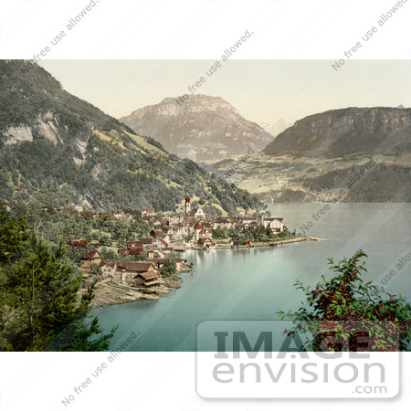 #17932 Picture of the Village of Gersau and Frohnalpstock Mountain, Lake Lucerne, Switzerland by JVPD