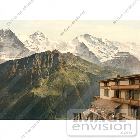 #17944 Picture of People at the Railroad Station at Schynige Platte With Mountains Eiger, Monch and Jungfrau, Bernese Oberland, Switzerland by JVPD