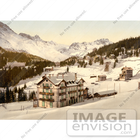 #17951 Picture of Hotel Buildings in Snow in the Village of Arosa, Grisons, Switzerland by JVPD