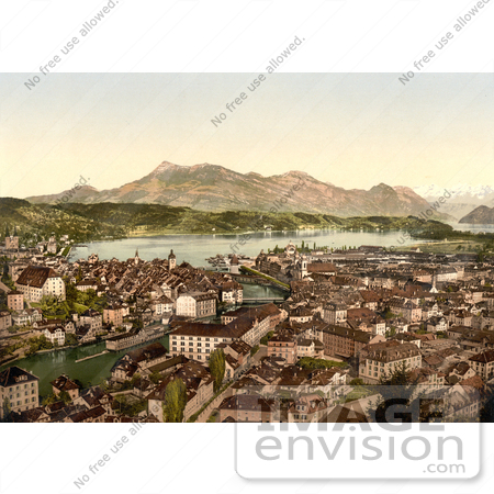 #17955 Picture of an Aerial of Lucerne Switzerland by JVPD
