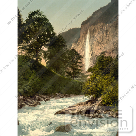 #17959 Picture of Lutschine River and Staubbach Falls, Lauterbrunnen Valley, Bernese Oberland, Switzerland by JVPD