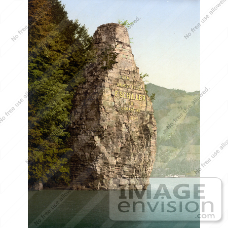 #17964 Picture of Mythenstein or Schillerstein Rock With Gold Dedicated Inscription to Friedrich Schiller, Schillerstein, Switzerland by JVPD