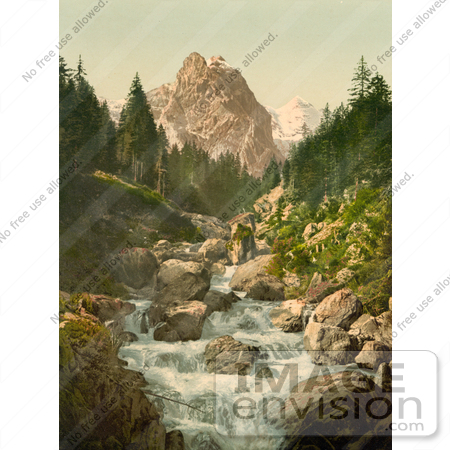 #17971 Picture of a River and Wetterhorn Mountain, Switzerland by JVPD
