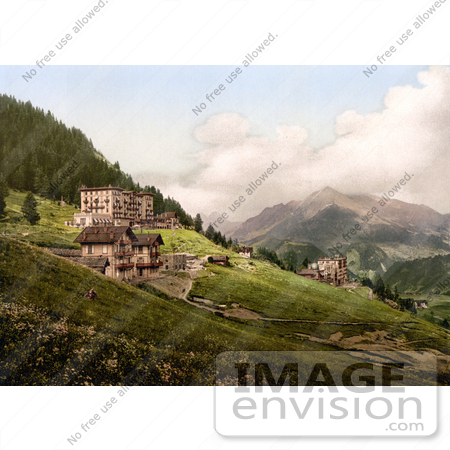 #18017 Picture of Hillside Hotel Buildings in Leysin, Vaud, Nand, Aigle, Switzerland by JVPD