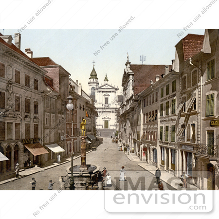 #18019 Picture of the Cathedral of St. Ursus and Saint Ursus Fountain, Solothurn, Hauptgasse, Switzerland by JVPD