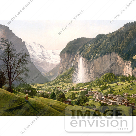 #18040 Picture of Staubbach Waterfalls in a Scene of Lauterbrunnen and Mountain Jungfrau, Swizerland by JVPD