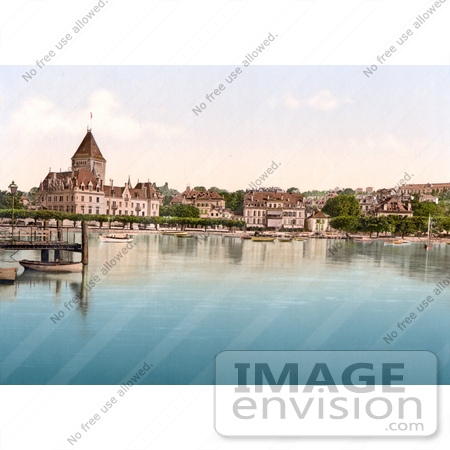 #18044 Picture of Hotel de Chateaux on the Shore of Geneva Lake in Ouchy, Switzerland by JVPD