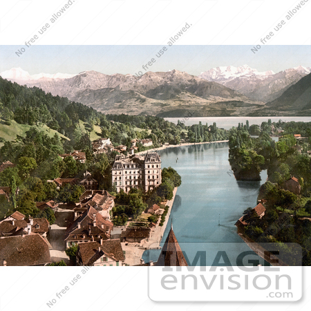 #18047 Picture of Thunerhof in the Village of Thun, Aare River, Lake Thun and Swiss Mountains, Switzerland by JVPD