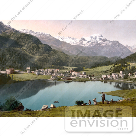#18050 Picture of the Resort Village of St. Moritz and the Baths, Grisons, Switzerland by JVPD