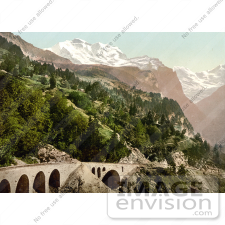 #18057 Picture of a Railway Bridge and Tracks Near Wengern Alp Station, Bernese Oberland, Switzerland by JVPD