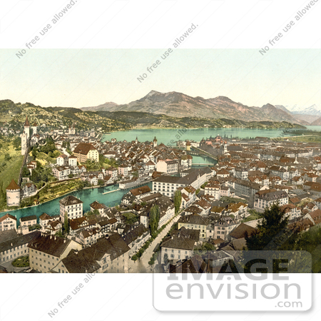 #18058 Picture of the City of Lucerne on Lake Lauerz and Rigi Mountain, Switzerland by JVPD
