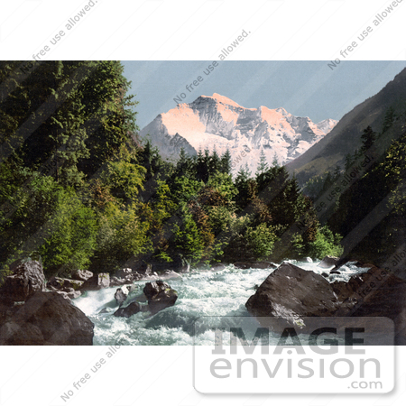 #18065 Picture of the Lutschine River and Jungfrau Mountain, Switzerland by JVPD