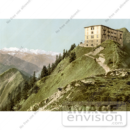 #18068 Picture of a Hotel on a Hill With a View of Oberland Alps Mountains, Rigi, Switzerland by JVPD