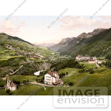 #18069 Picture of a Hotel and Village, Vulpera, Lower Engadin, Graubunden, Switzerland by JVPD