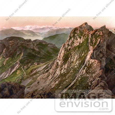 #18078 Picture of the Steep Tomlishorn Path in the Oberland Alps, View of Pilatus Mountain, Switzerland by JVPD