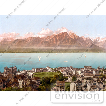 #18151 Photo of the Savoy Mountains, Sailboats and Montreux, Geneva Lake, Switzerland by JVPD