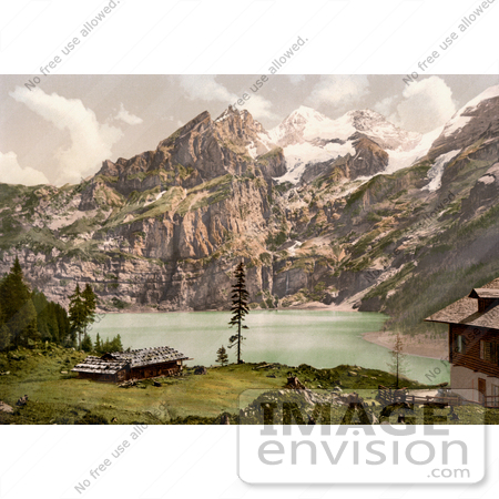 #18195 Photo of Buildings Overlooking Oeschinen Lake, Bernese Oberland, Switzerland by JVPD