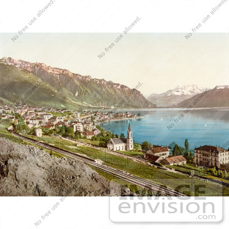 #18200 Photo of the Village of Montreux on the Shore of Geneva Lake in Switzerland by JVPD