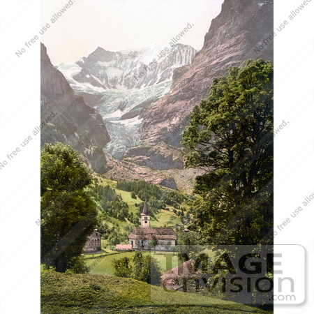 #18259 Photo of the Church in Grindelwald, Eiger Mountain in the Background, Bernese Oberland, Switzerland by JVPD