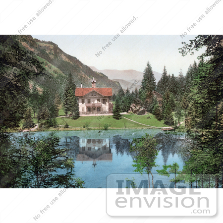 #18275 Photo of a Building on the Shore of the Blausee Lake, Kander Valley, Kandersteg, Bernese Oberland, Switzerland by JVPD