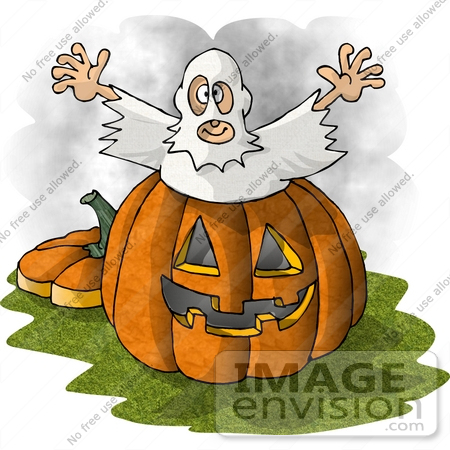 #18361 Man Dressed as a Ghost, Jumping Out of a Pumpkin to Scare Trick or Treaters on Halloween Clipart by DJArt