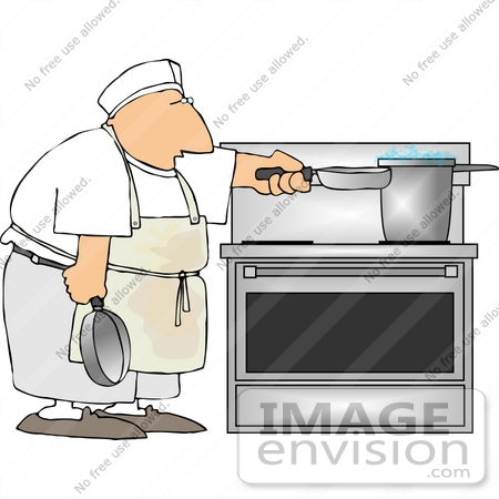 Male Short Order Cook Chef Cooking With Pots And Pans On A Stove In Restaurant Kitchen Clipart 18363