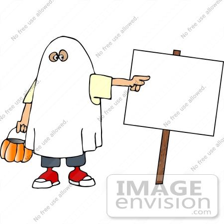 #18367 Child in a Ghost Halloween Costume, Trick or Treating and Pointing to a Blank Sign Clipart by DJArt