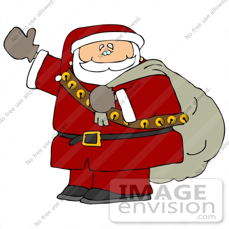 Santa Carrying a Sack Over His Shoulder and Waving Clipart ...