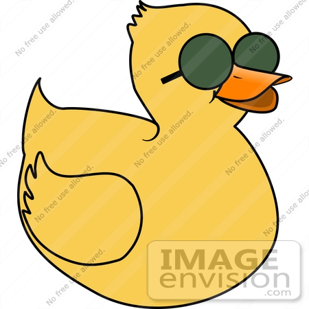 #18378 Yellow Duck Wearing Sunglasses Clipart by DJArt