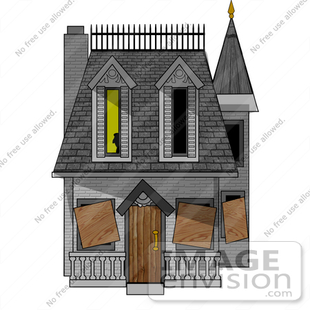 #18379 Ghost Appearing in a Window of a Condemned and Boarded up Haunted Victorian House Clipart by DJArt