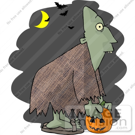 #18381 Ghoul Carrying a Pumpkin Under a Crescent Moon and Vampire Bats on Halloween Clipart by DJArt