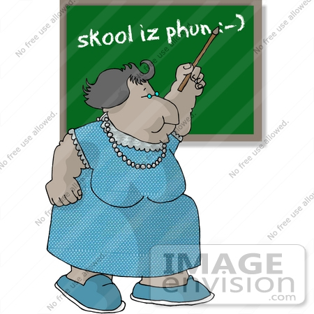 #18385 Female African American School Teacher Pointing to Incorrect Text on a Chalkboard Clipart by DJArt