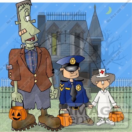 #18386 Frankenstein Trick Or Treating With Children in Police and Nurse Costumes, Standing by a Condemned Haunted House Clipart by DJArt