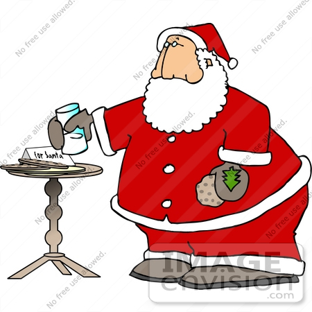 #18387 Chubby Santa Eating Milk and Cookies Clipart by DJArt