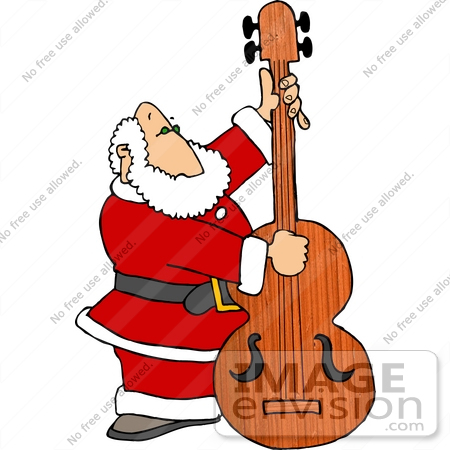 santa claus playing an upright bass instrument clipart 18395 by rh imageenvision com musical instruments clip art pictures musical instrument clipart black and white