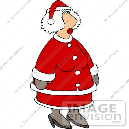 #18396 Mrs Claus in a Red Suit Clipart by DJArt