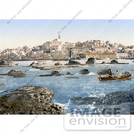 #18398 Photo of Men in a Boat at Jaffa on the Mediterranean Sea, Holy Land, Israel by JVPD