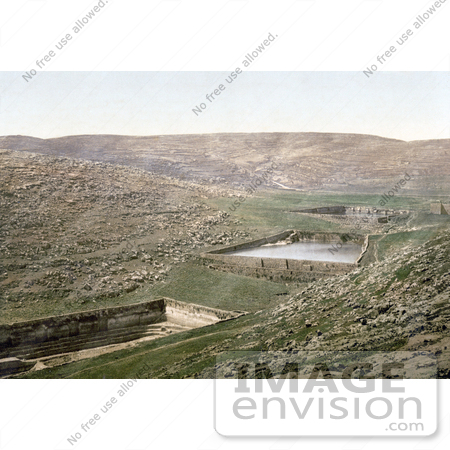 #18412 Photo of Solomon's Pools, Pools of Solomon, Water Cisterns in Etam, Wady Urtas, Bethlehem, Holy Land, Nein, Israel by JVPD