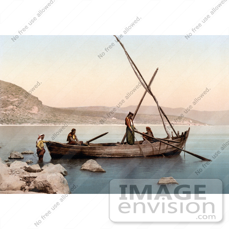 #18417 Photo of Men in a Fishing Boat the Sea of Galilee, Lower Galilee, Tiberias, Holy Land, Israel by JVPD